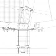 Detailpunkt Horizontalschnitt Anschluss Stahlträger an Holz |M 1:5