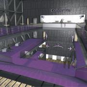 Rendering | Blick durch das Foyer & Treppenhaus des Theaters
